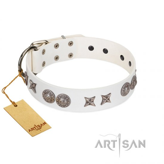 """Seventh Heavens"" FDT Artisan White Leather Bullmastiff Collar with Chrome-plated Stars and Engraved Brooches"