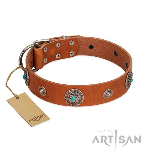 """Marine Antiques"" Handmade FDT Artisan Tan Leather Bullmastiff Collar with Blue Stones"