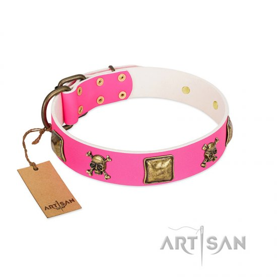 """Wild and Free"" FDT Artisan Pink Leather Bullmastiff Collar with Skulls and Crossbones Combined with Squares"