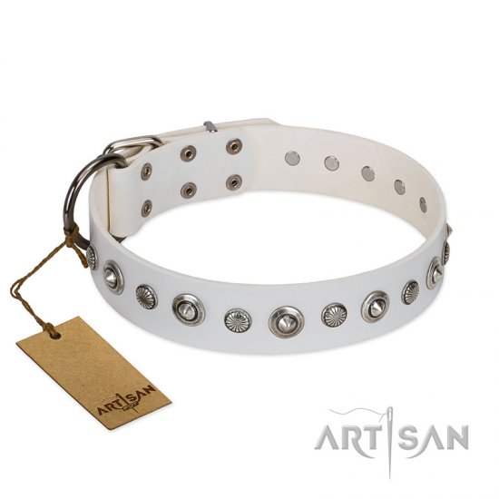 """Infinite Purity"" White FDT Artisan Leather Bullmastiff Collar with Elegant Decorations"