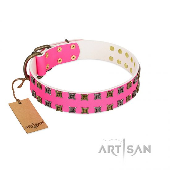 """Glamy Solo"" FDT Artisan Pink Leather Bullmastiff Collar with Extraordinary Studs"