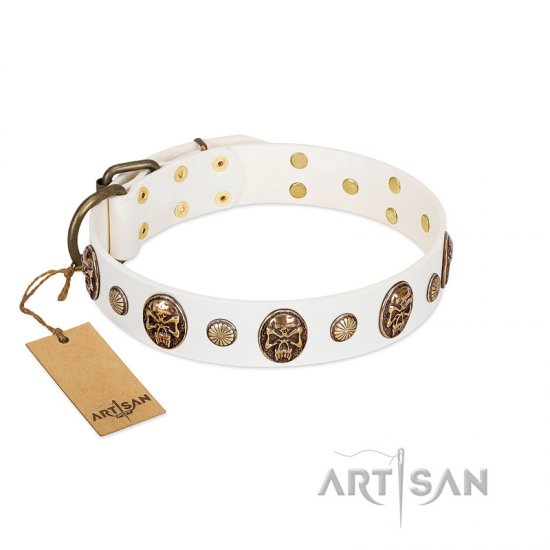 """Fatal Beauty"" FDT Artisan White Leather Bullmastiff Collar with Old Bronze-like Studs and Oval Brooches"