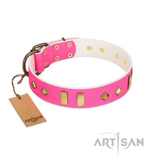 """Gentle Temptation"" FDT Artisan Pink Leather Bullmastiff Collar with Goldish Plates and Studs"