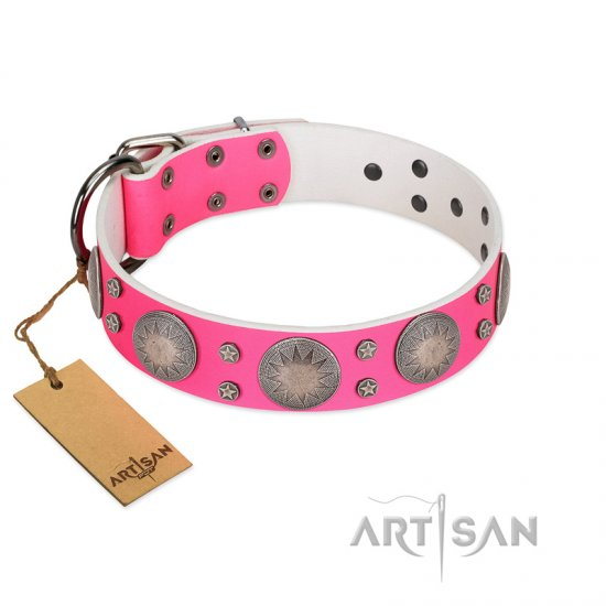 """Silver Star"" Fantastic FDT Artisan Pink Leather Bullmastiff Collar with Engraved Studs"