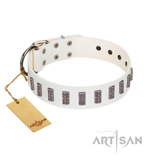 """Heaven's Gates"" Handmade FDT Artisan White Leather Bullmastiff Collar with Silver-Like Engraved Plates"