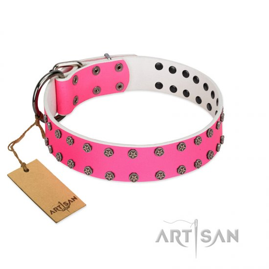 """Pink Fashion"" Designer FDT Artisan Pink Leather Bullmastiff Collar with Silver-Like Studs"