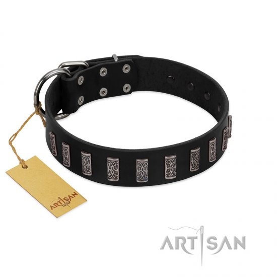 """Black Prince"" Handmade FDT Artisan Black Leather Bullmastiff Collar with Silver-Like Adornments"