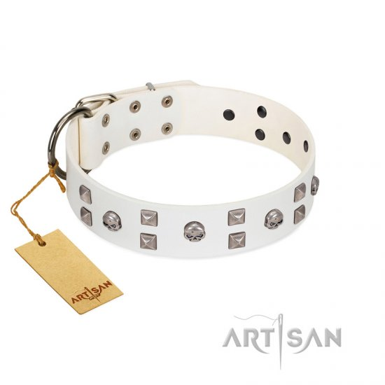 """Rock the Sky"" Durable FDT Artisan White Leather Bullmastiff Collar with Chrome-plated Decorations"