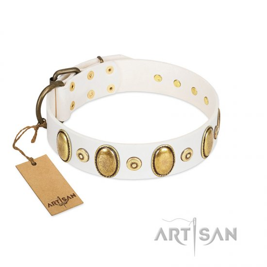 """Pearly Grace"" FDT Artisan White Leather Bullmastiff Collar with Engraved Ovals and Small Dotted Studs"