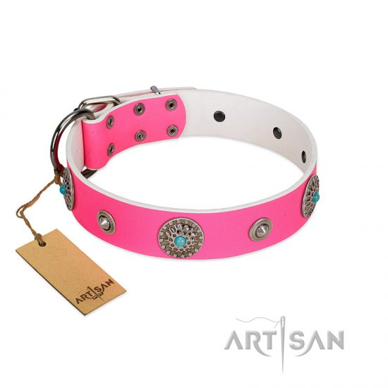 """Chili Mood"" Designer Handmade FDT Artisan Pink Leather Bullmastiff Collar"