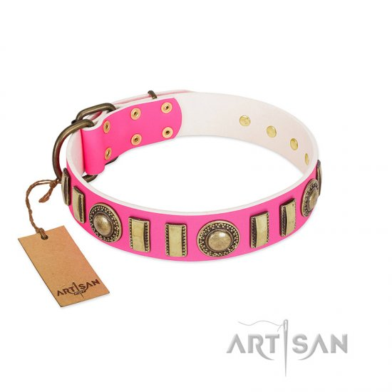 """La Femme"" FDT Artisan Pink Leather Bullmastiff Collar with Ornate Brooches and Small Plates"