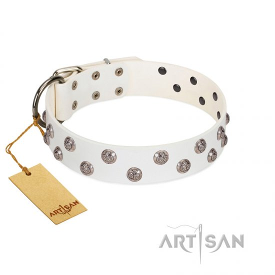 """Wild Flora"" FDT Artisan White Leather Bullmastiff Collar with Silver-like Engraved Studs"