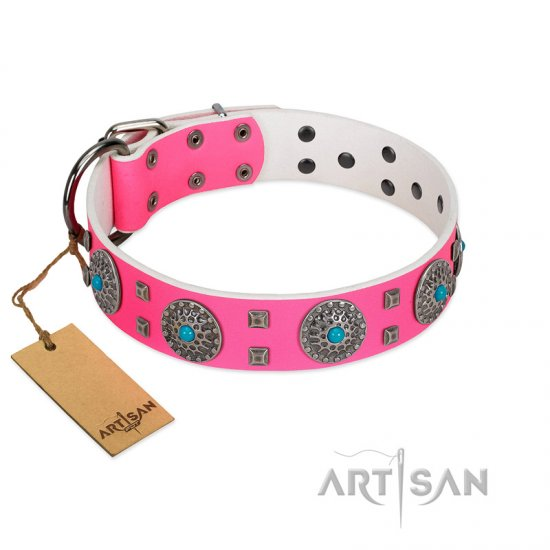 """Pink Delight"" FDT Artisan Pink Leather Bullmastiff Collar for Everyday Walking"