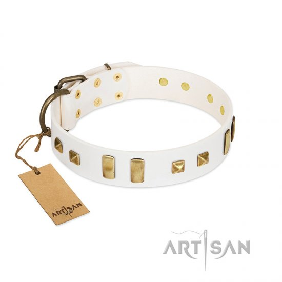 """Wintertide Mood"" FDT Artisan White Leather Bullmastiff Collar with Old Bronze-like Plates and Studs"