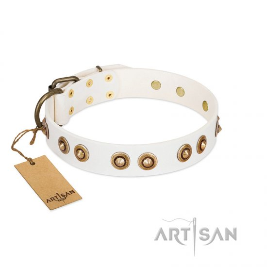 """Moonlit Stroll"" FDT Artisan White Leather Bullmastiff Collar with Antique Decorations"