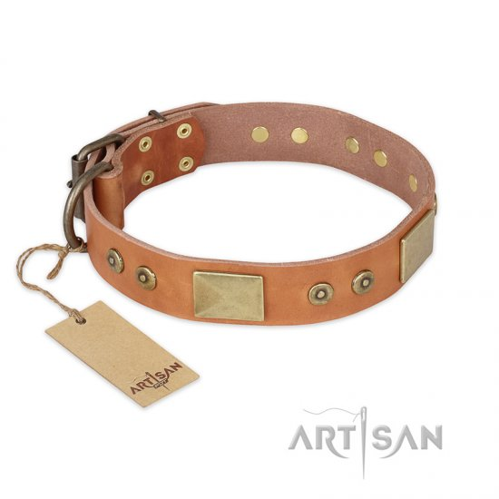"""The Middle Ages"" FDT Artisan Handcrafted Tan Leather Bullmastiff Collar"
