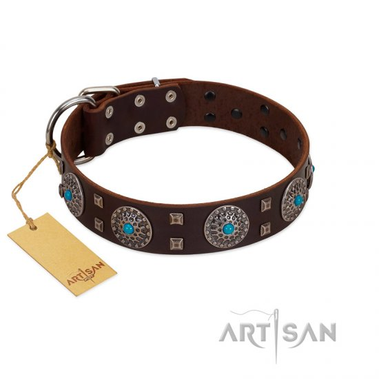 """Hypnotic Stones"" FDT Artisan Brown Leather Bullmastiff Collar with Chrome Plated Brooches and Square Studs"