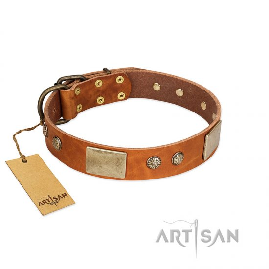 """Ancient Treasures"" FDT Artisan Tan Leather Bullmastiff Collar with Antiqued Plates and Studs"