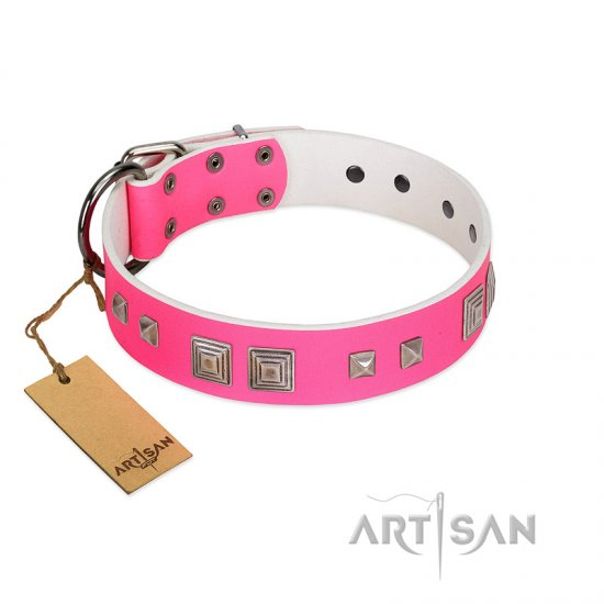 """Rosy Evolution"" Designer Handmade FDT Artisan Pink Leather Bullmastiff Collar"