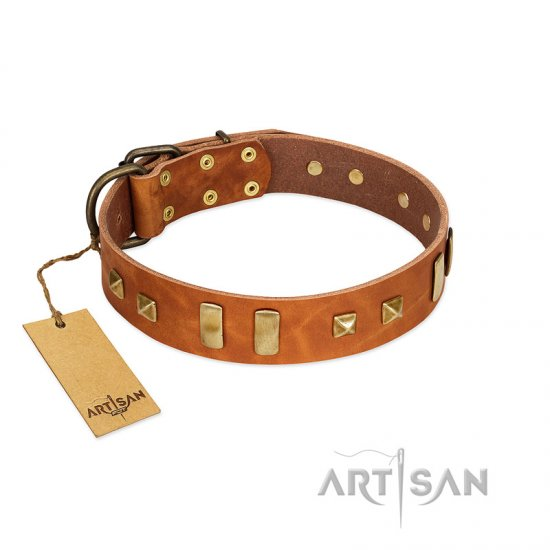 """Sand of Time"" FDT Artisan Tan Leather Bullmastiff Collar with Old Bronze-like Studs and Plates"