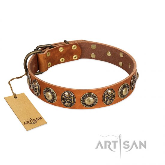 """Golden Epoch"" FDT Artisan Tan Leather Bullmastiff Collar with Old Bronze-plated Medallions and Conchos"