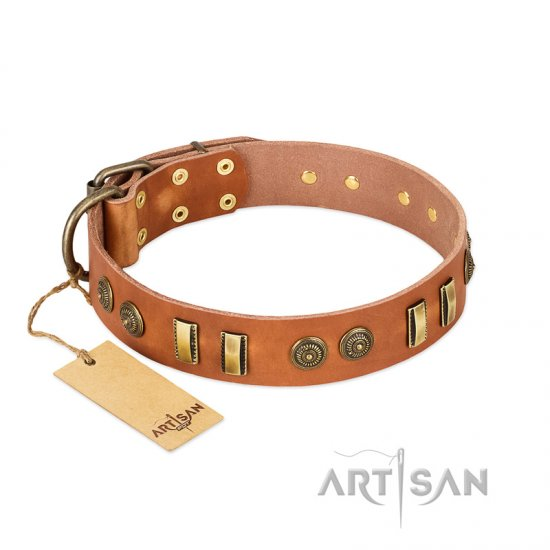 """Natural Beauty"" FDT Artisan Tan Leather Bullmastiff Collar with Old Bronze-like Circles and Plates"