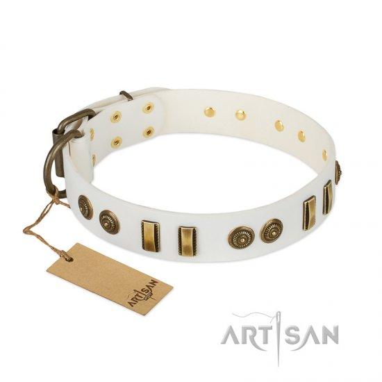 """Midsummer Snow"" FDT Artisan White Leather Bullmastiff Collar with Old Bronze-like Plates and Circles"