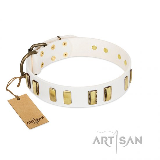 """Glorious Light"" FDT Artisan White Leather Bullmastiff Collar with Old Bronze-like Plates"