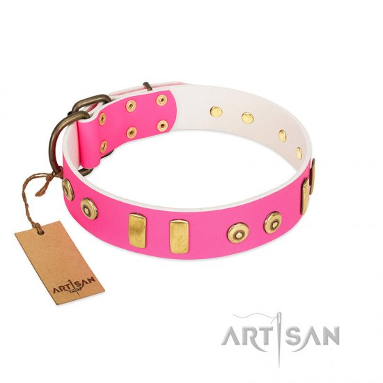 """Prim'N'Proper"" Handmade FDT Artisan Pink Leather Bullmastiff Collar with Old Bronze-like Dotted Studs and Tiles"