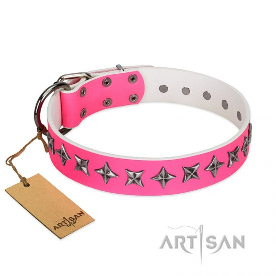"""Star Dreams"" FDT Artisan Pink Leather Bullmastiff Collar with Silver-like Stars"