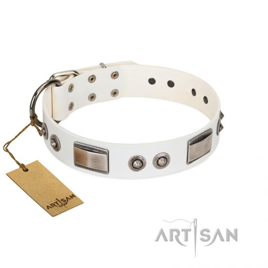 """Good-Luck Piece"" FDT Artisan White Bullmastiff Collar Adorned with Chrome Plated Studs and Plates"