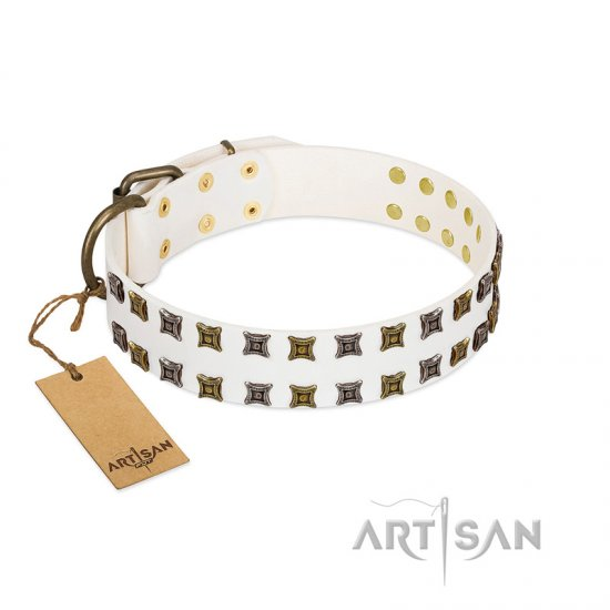 """Ice Peak"" FDT Artisan White Leather Bullmastiff Collar with Silvery and Goldish Decorations"