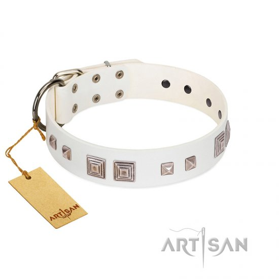"""Pure Quadratic"" Designer Handmade FDT Artisan White Leather Bullmastiff Collar"