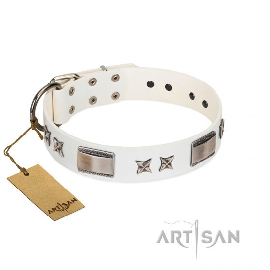"""Bling-Bling"" FDT Artisan White Leather Bullmastiff Collar with Sparkling Stars and Plates"
