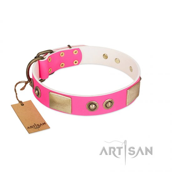 """Pink Splash"" FDT Artisan Soft Leather Bullmastiff Collar with Bronze-like Plates and Medallions"