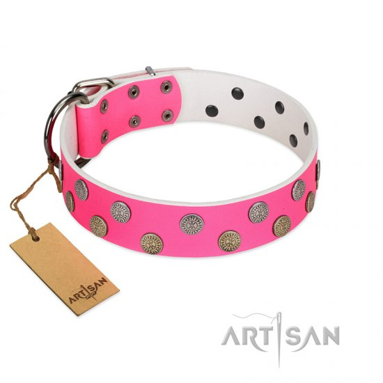 """Lucky Pink"" Designer FDT Artisan Pink Leather Bullmastiff Collar with Medallions"