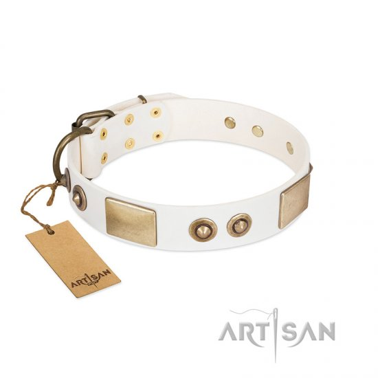 """Noble Impulse"" FDT Artisan White Leather Bullmastiff Collar Adorned with Antique Plates and Studs"