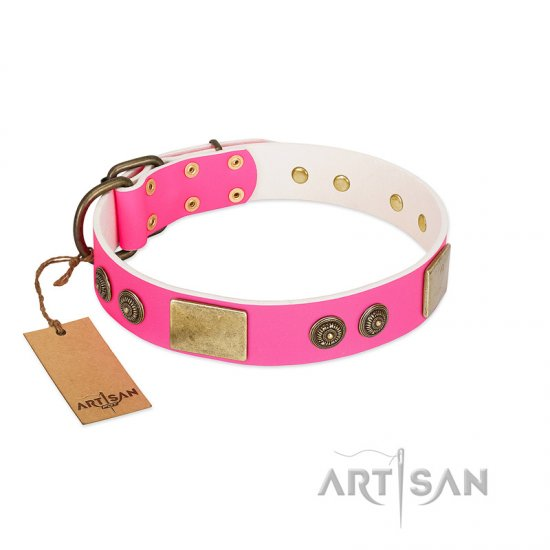 """Queen's Whim"" FDT Artisan Fancy Walking Pink Leather Bullmastiff Collar Adorned with Old Bronze-like Plates and Studs"