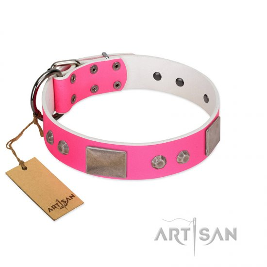 """Pink Blush"" Premium Quality FDT Artisan Pink Designer Bullmastiff Collar with Plates and Studs"
