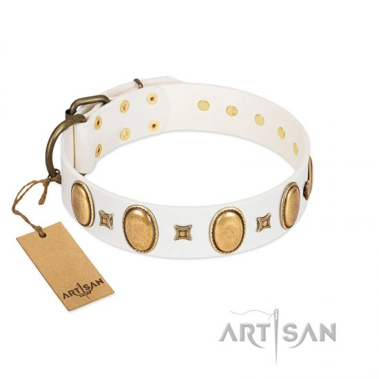 """Chichi Pearl"" Designer Handmade FDT Artisan White Leather Bullmastiff Collar with Ovals and Studs"