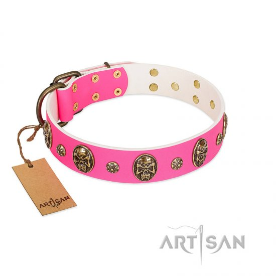 """Fashion Show"" FDT Artisan Pink Leather Bullmastiff Collar with Old Bronze-like Skulls and Studs"