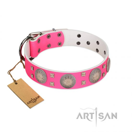 """Sunny Star"" Designer Handmade FDT Artisan Pink Leather Bullmastiff Collar"