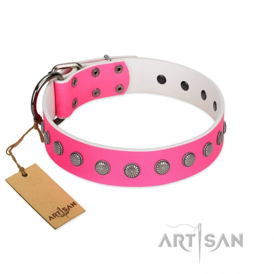 """Florescence"" Ultramodern FDT Artisan Pink Leather Bullmastiff Collar Decorated with Silver-Like Studs"