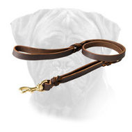 Leather Bullmastiff Leash With Additional Handle