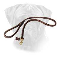 Braided Leather Bullmastiff Leash with Comfortable Handle