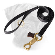 Police Bullmastiff Leash with Brass Plated Snap and Smart Lock