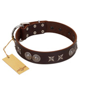 """Antique Style"" Designer Handmade FDT Artisan Brown Leather Bullmastiff Collar"