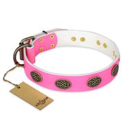 """Forever Fashion"" FDT Artisan Leather Bullmastiff Collar with Old Look Plates - 1 1/2 inch (40 mm) wide"