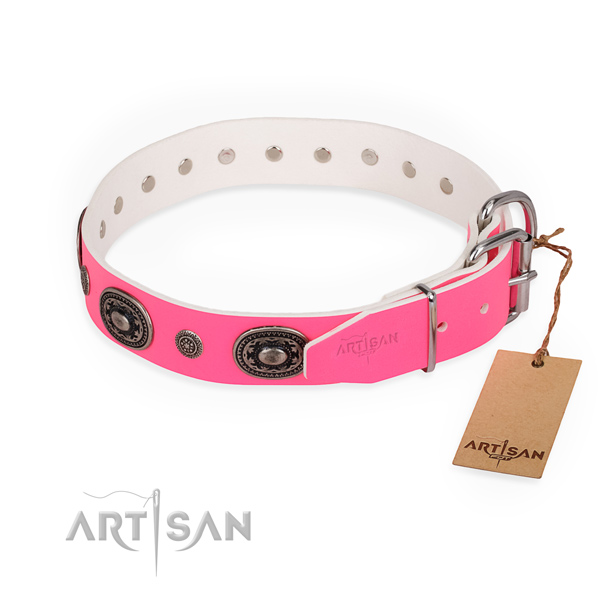 Easy wearing designer dog collar with corrosion proof D-ring