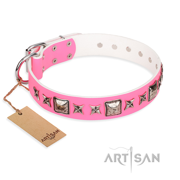 Full grain natural leather dog collar made of gentle to touch material with corrosion proof fittings